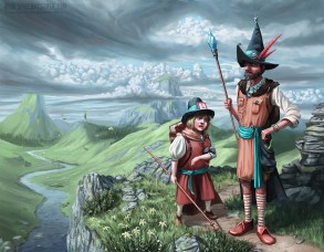 Two wizards on a hill overlooking a valley