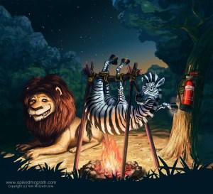 lion roasts zebra over fire