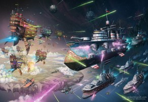dieselpunk airships in space