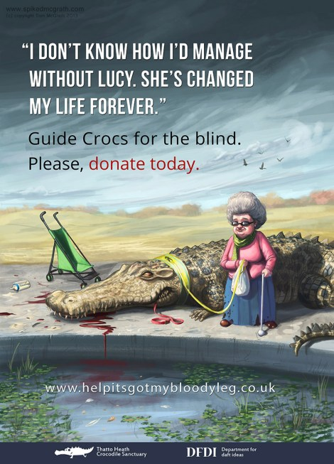 An old blind lady and her guide crocodile