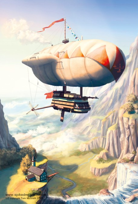 A steampunk airship in valley. Aetwork by Tom McGrath