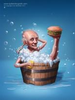 Old man in a bath tub