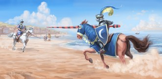Don Quixote jousts the white knight on the beaches of Barcelona
