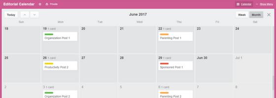 Trello Editorial Calendar Variety