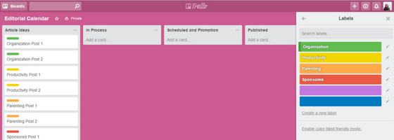 Trello Editorial Calendar with Articles Labeled