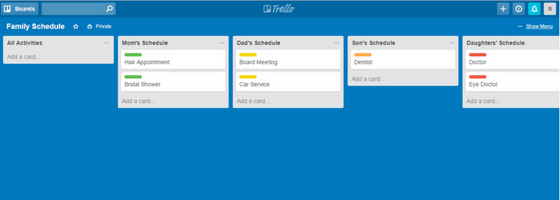 Trello Family Schedule with Labels Allocated