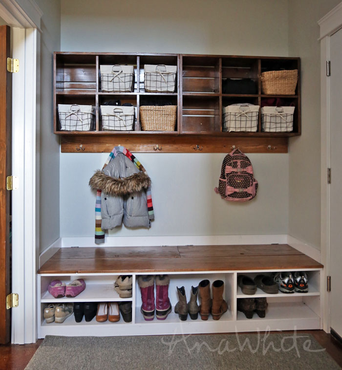 DIY Boot Storage Bench by Ana White