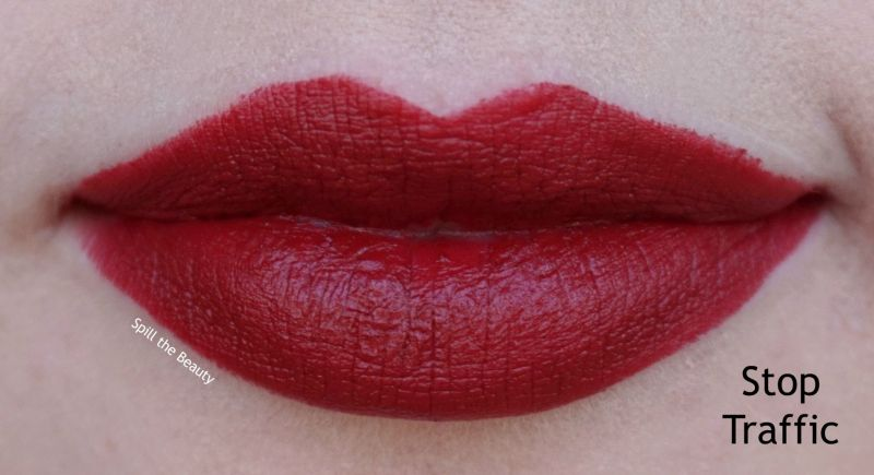 too faced moisture matte long wear lipstick swatches review stop traffic