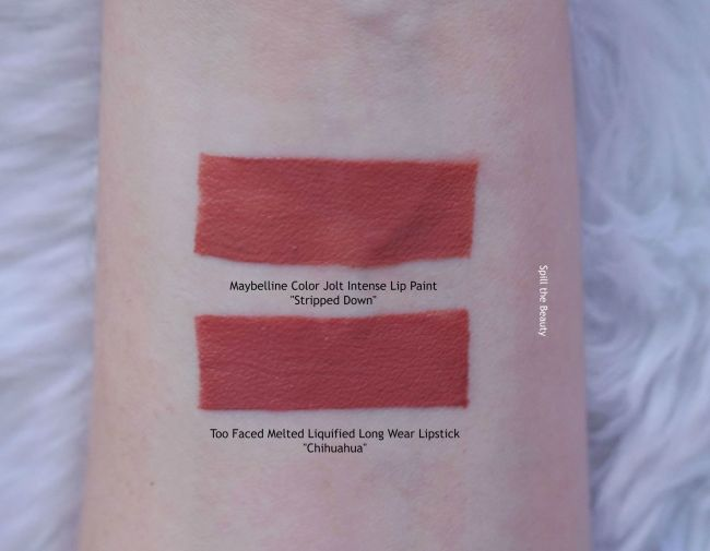 maybelline color jolt swatches stripped down dupe too faced comparison chihuahua
