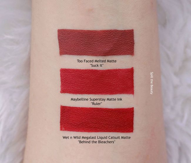maybelline superstay patte ink liquid lipstick ruler swatches comparison dupe too faced suck it wet n wild behidn the bleachers