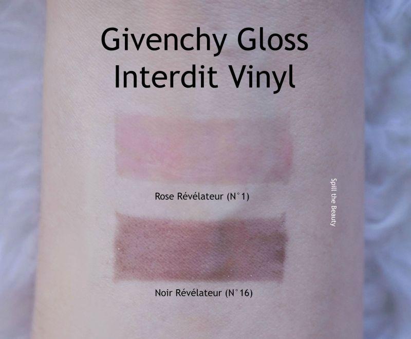 givenchy gloss interdit vinyl rose revelateur noir revelateur review swatches