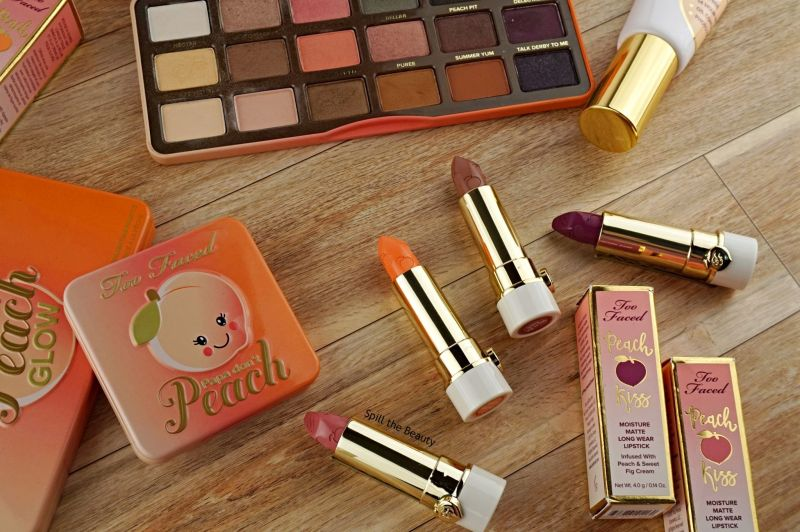 too faced peaches and cream moisture matte lipstick review swatches drunk dial sex on the peach everything is peachy make me blush