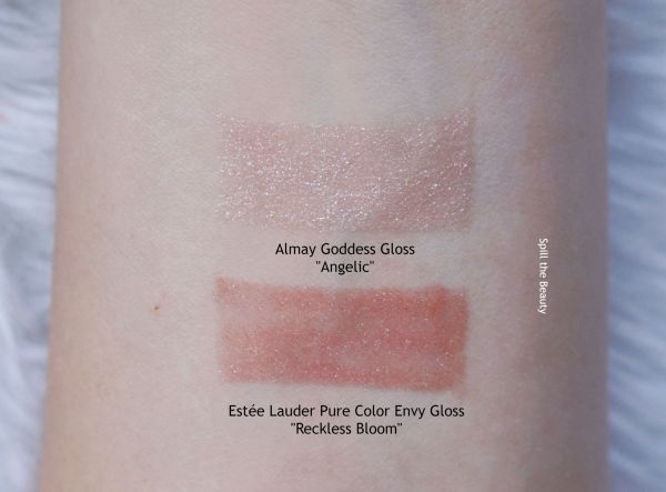 lip swatch almay goddess gloss angelic comparison dupe