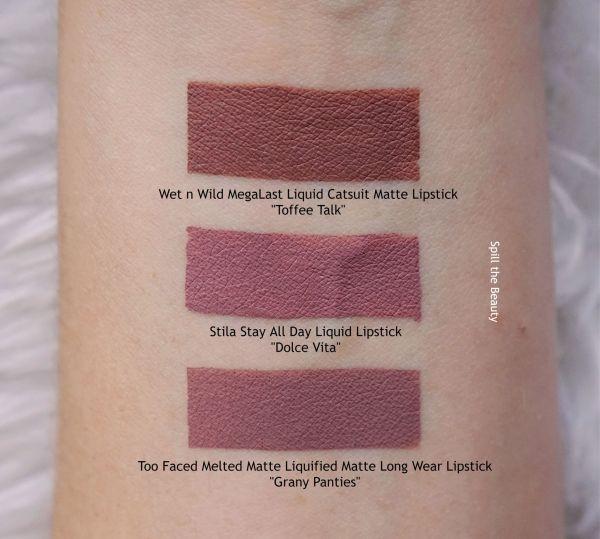 lip swatch stila dolce vita liquid lipstick dupe comparison