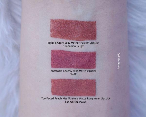 anastasia lipstick buff swatches comparison dupe