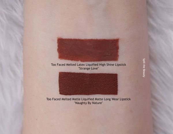 too faced strange love liquid latex swatch comparison naughty by nature