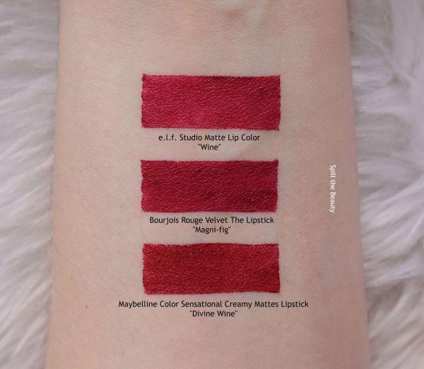 bourjois magni-fig rouge velvet lipstick swatches comparison