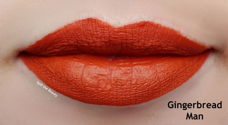 too faced gingerbread man melted matte lip swatch