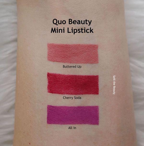 quo beauty swatches mini lipstick
