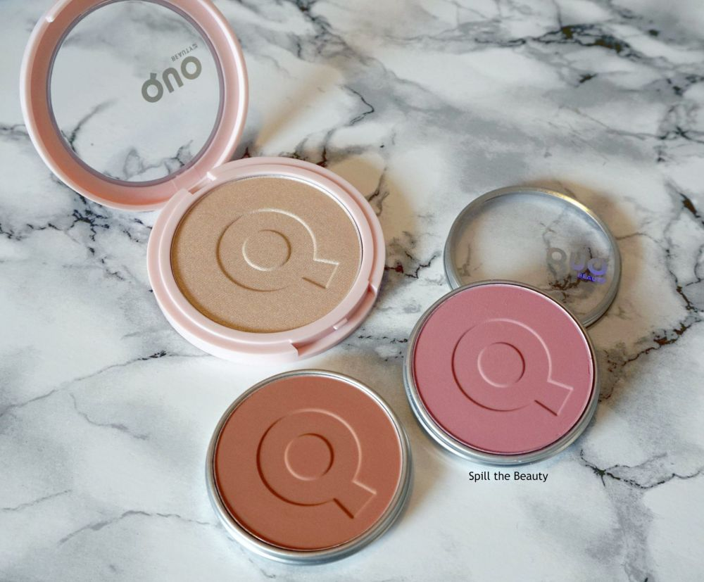 quo beauty swatches blush bronzer highlighter