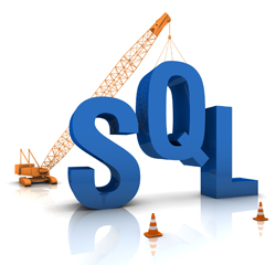Construction site crane building a blue SQL 3D text. Part of a series.
