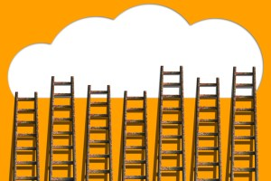 Clouds with ladders on orange wall  ,competition concept