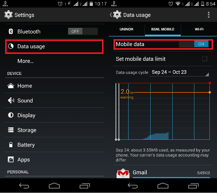 How To Turn On Or Enable Mobile Data In Android Spinfold