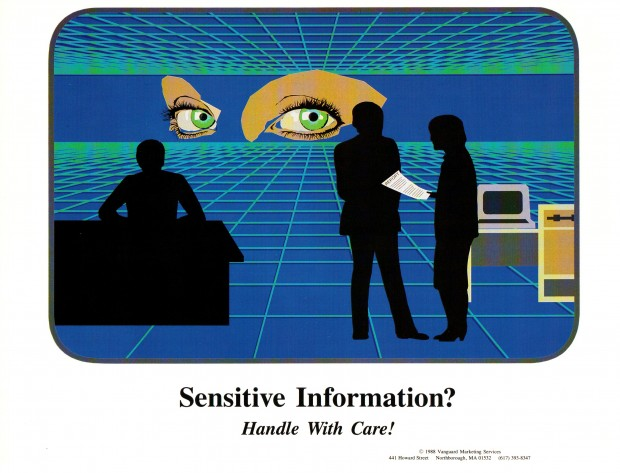 Sensitive information? Handie with care! - 80s Sysadmin Posters
