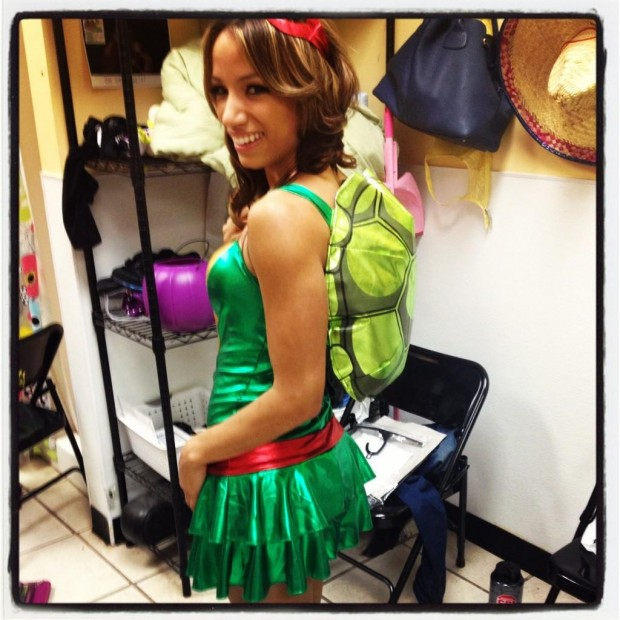 Sasha Banks ninja turtle dress and shell backpack