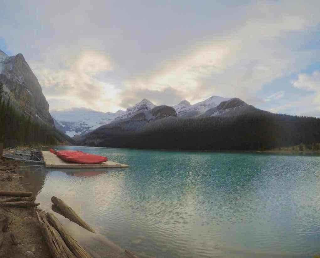 sunset at Lake Louise in Banff National Park