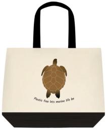 sea turtle cotton tote bag plastic free lets marine life be