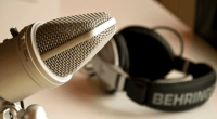 Podcast set, photo by Patrick Breitenbach
