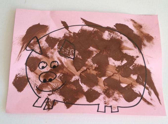 Sponge Mud Pigs Preschooler Craft