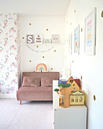 Sasha's new Rainbow and Unicorn Bedroom