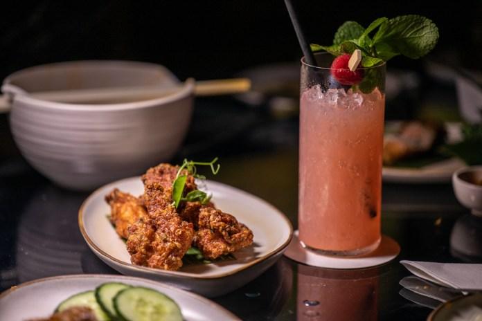 Raffles Courtyard Har Cheong Boneless Chicken Thigh and Perry Cobbler cocktail