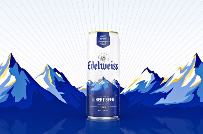 Edelweiss wheat beer can