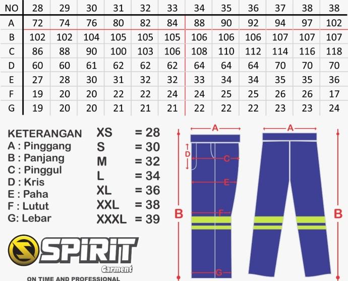 Size Chart Celana