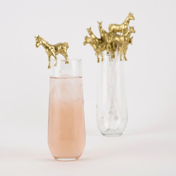 How CUTE are these gold pony swizzle sticks by GnomeSweetGnome on Etsy? I need a dozen!