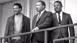 MLK Jr., Jesse Jackson, Ralph Abernathy, Lorraine Motel balcony moments before King was shot