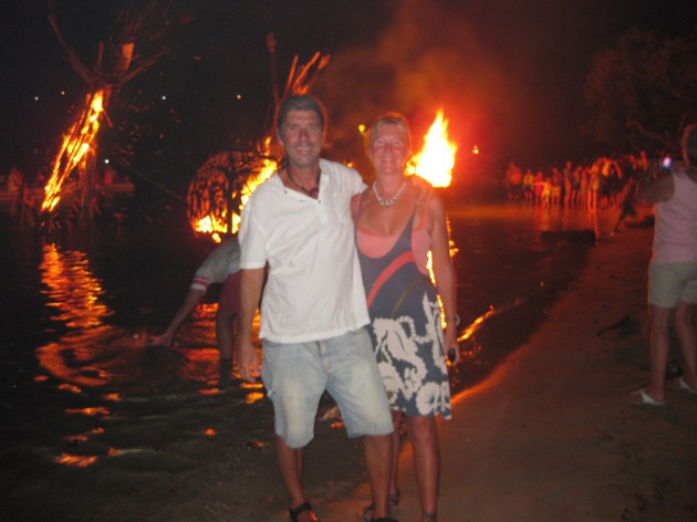 Cain and April at the Full Moon Party, Beef Island, BVIs