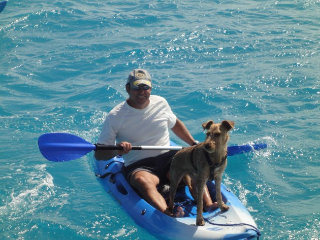 Roy on kayak with Quinn