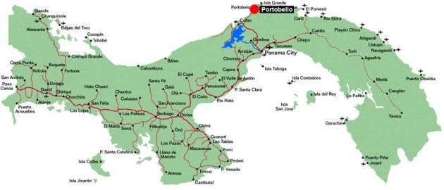 Chart of Panama with Portobela marked