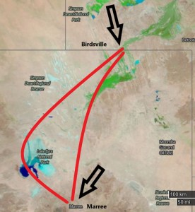 Lake Eyre and Birdsville Flights and Tours - Lake Eyre flight map