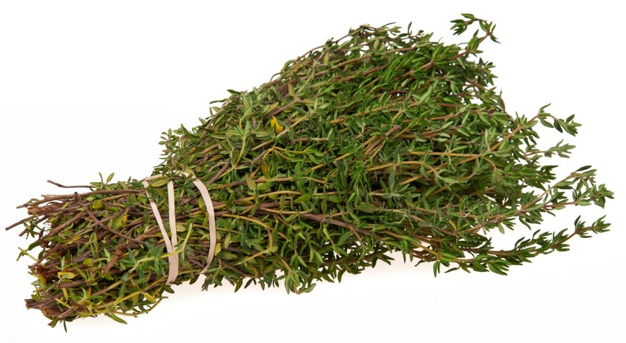Figure 1: Harvesting medicinal plants requires scientific and traditional knowledge. Thyme is harvested before flower buds bloom. Photo by Evan Amos, wikimedia