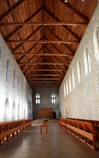 interior of church with wooden roof
