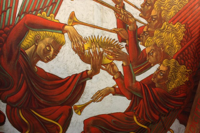 The Chapter Room at Saint Meinrad's has this painting of angels holding a crown (Bob Sessions photo).
