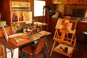 The icon-painting studio at St. Isaac of Syria Skete (Lori Erickson photo).