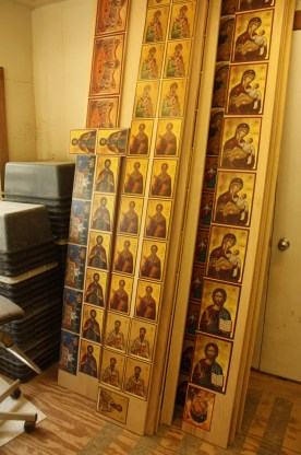 Icons in production at St. Isaac of Syria Skete (Lori Erickson photo).
