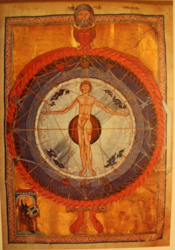 """Hildegard's vision of the """"Universal Man"""" (note that she includes herself in the corner)"""