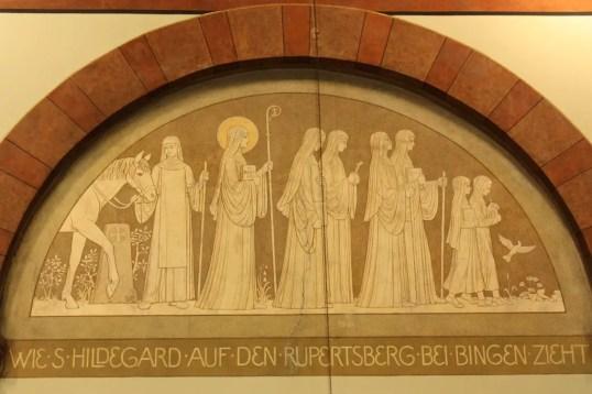 Murals depicting scenes form Hildegard's life adorn the church's interior. (Bob Sessions photo)